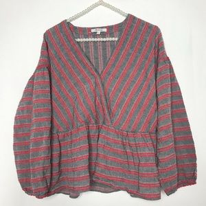 Madewell Striped Bubble-Sleeve Peplum Top Red Gray